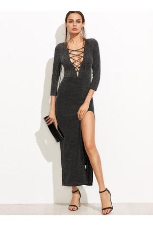 Yok Yok Siyah Yakası Bağcıklı Yırtmaçlı Uzun Elbise