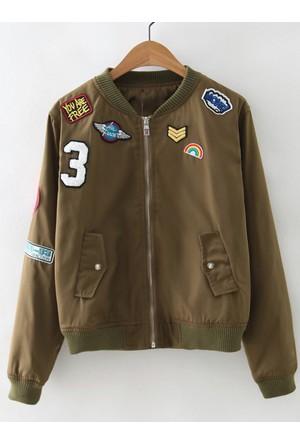 Yok Yok Yeşil Arma İşlemeli Fermuarlı Ceket