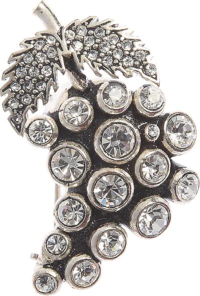 Aşina Gümüş Zirkon Taşlı Elmas Montürlü Üzüm Broş