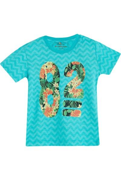 Soobe Pop Boys Çiçekli Kısa Kol T-Shirt Okyanus 0 - 3 Ay