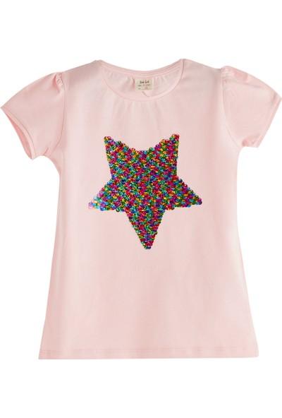 Soobe Pop Girls Payetli Yıldız Kısa Kol T-Shirt Pink Lady 3 Yaş