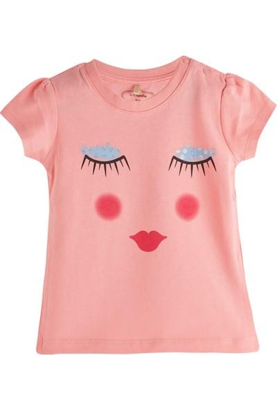 Soobe Pop Girls Uyuyan Surat Kısa Kol T-Shirt Pink Tint 0 - 3 Ay