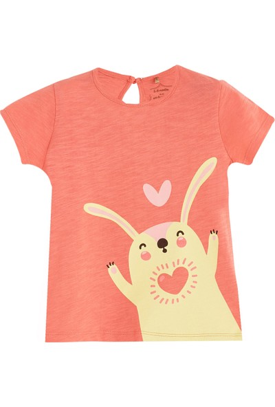 Soobe Pop Girls Kalpli Tavşan Kısa Kol T-Shirt Porselen Rose 6 - 9 Ay