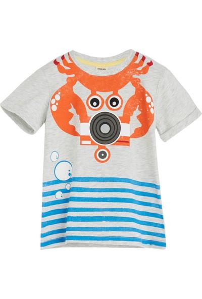 Soobe Pirate Octopus Kısa Kol T-Shirt Açık Gri Melanj 1 Yaş