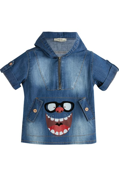 Soobe Fashion Monster Kapüşonlu Kısa Kol Denim Sweatshirt 4 Yaş