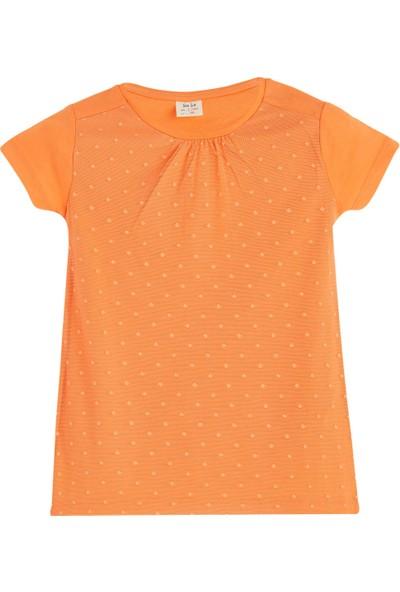 Soobe Pop Girls Önü Detaylı Kısa Kol T-Shirt Apricot 10 Yaş