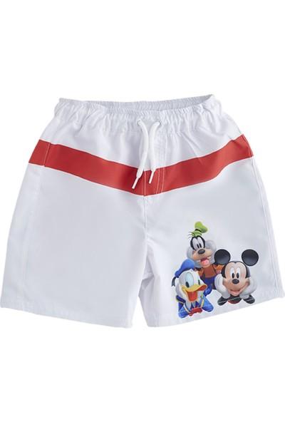 Soobe Lisanslı Disney Mickey Mouse Şort Mayo Beyaz 2 Yaş
