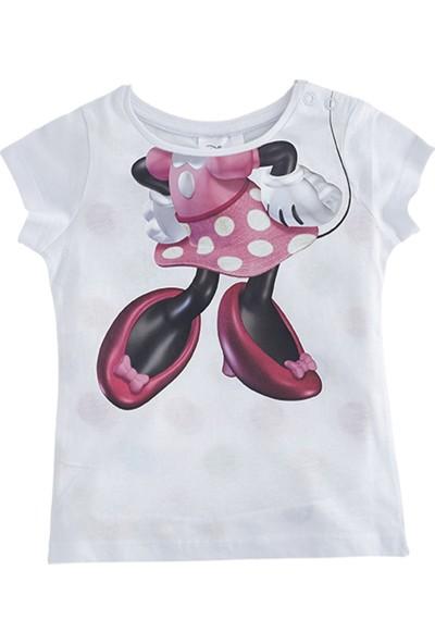 Soobe Lisanslı Disney Minnie Mouse Kısa Kol T-Shirt Beyaz 9 - 12 Ay