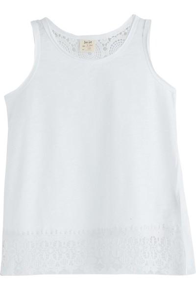 Soobe Pop Girls Dantelli Kolsuz T-Shirt Beyaz 4 Yaş