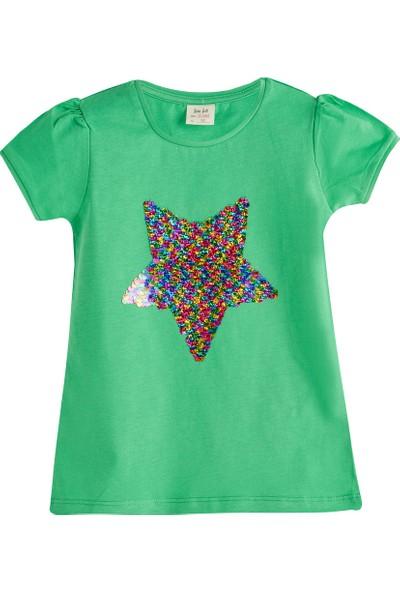 Soobe Pop Girls Payetli Yıldız Kısa Kol T-Shirt Çam 3 Yaş