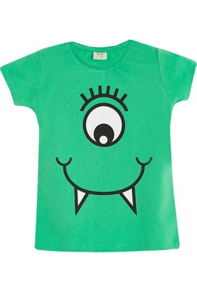 Soobe Pop Girls Tek Göz Canavar Kısa Kol T-Shirt Çam 3 Yaş