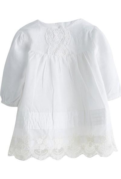 Soobe Little Lady Uzun Kol Elbise Külot Ve Önlük Set Ekru 6 - 9 Ay