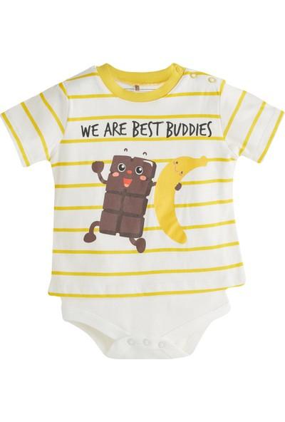 Soobe Hello Banana Kısa Kol Body Li T-Shirt Ekru 6 - 9 Ay