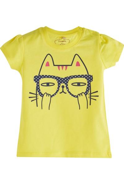 Soobe Pop Girls Gözlüklü Kedi Kısa Kol T-Shirt Koyu Sarı 6 - 9 Ay