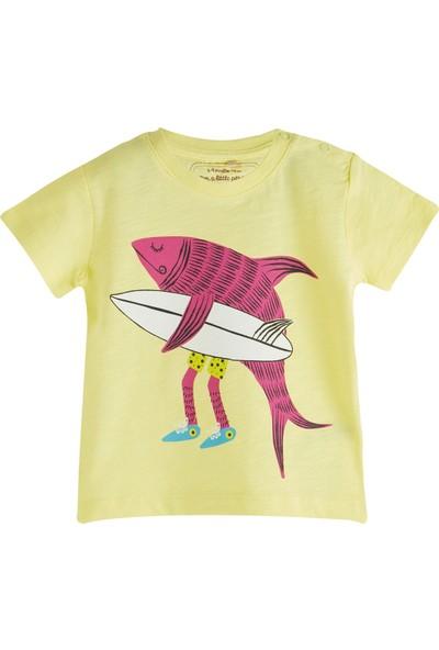 Soobe Pop Boys Sörfçü Balık Kısa Kol T-Shirt Limon Sarısı 0 - 3 Ay