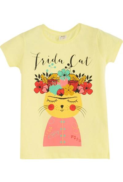 Soobe Pop Girls Kedi Kısa Kol T-Shirt Limon Sarısı 3 Yaş