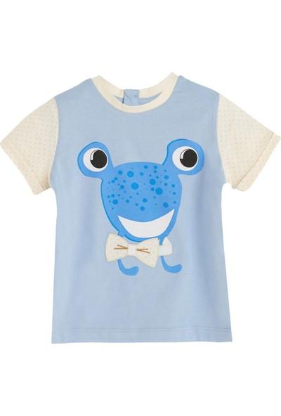 Soobe Bayram-2 Kurbağa Desenli T-Shirt Mavi 9 - 12 Ay