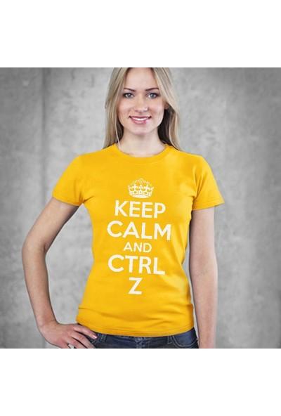 Tshirthane Keep Calm Ctrl+Z Sarı Tshirt