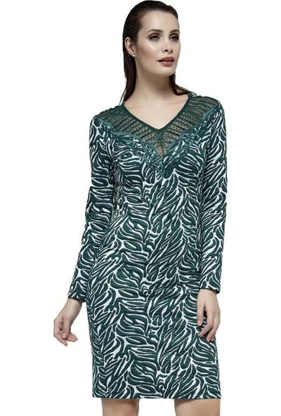 Dodona Taşlı Yeşil Abiye Elbise Yeşil