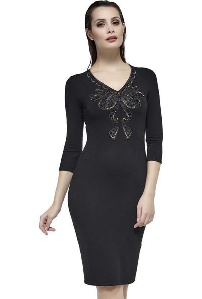 Dodona Yakası Güpürlü Şık Elbise Siyah