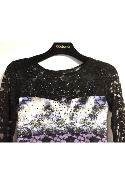 Dodona Çiçek Desenli Taşlı Gece Elbisesi Renkli