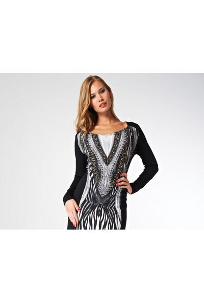 Dodona Özel Tasarım Taşlı Şık Gece Elbisesi Siyah - Beyaz