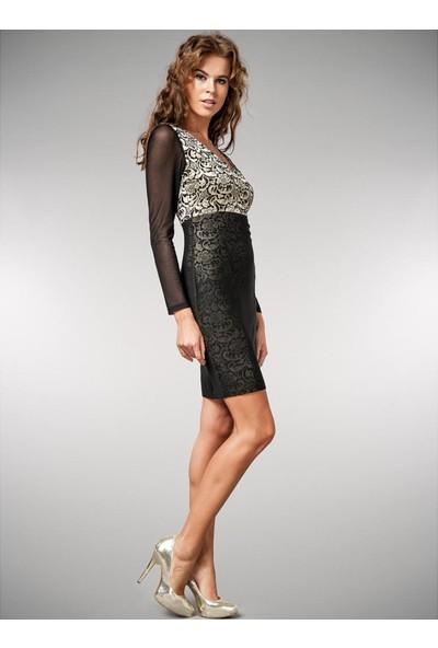 Dodona Özel Tasarım Gece Elbisesi Siyah - Altın