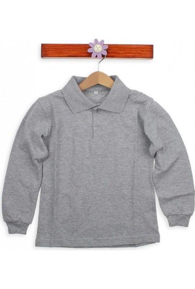 Modakids Uzun Kol Gri Okul Lakos T-Shirt 019-9511-011