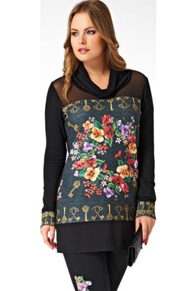 Dodona Özel Tasarım Tül Detaylı Şık Tunik Bluz