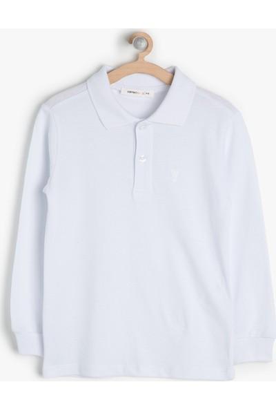 Koton Kids Erkek Çocuk Yaka Detaylı T-Shirt Beyaz