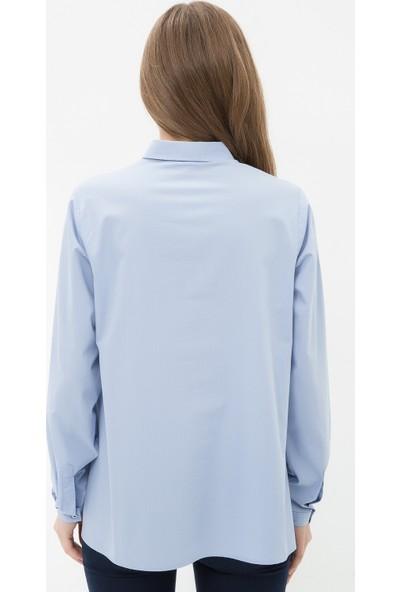 Ole Kadın Klasik Yaka Gömlek Mavi