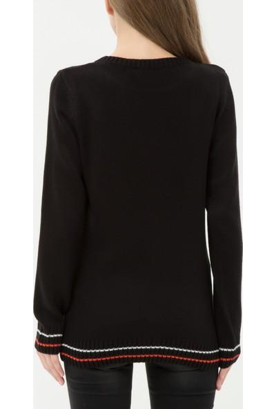 Ole Kadın Yazı Desenli Tunik Siyah
