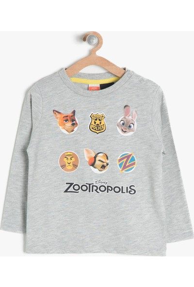 Koton Kids Erkek Çocuk Baskılı T-Shirt Gri