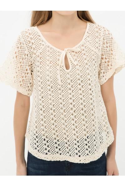 Ole Kadın Desenli T-Shirt Taş