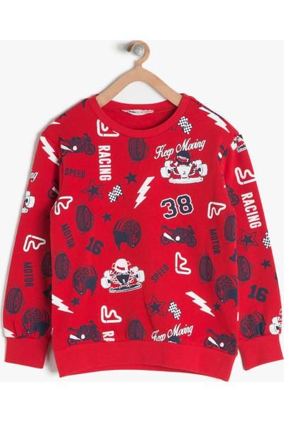 Koton Kids Erkek Çocuk Baskılı Sweatshirt Kırmızı