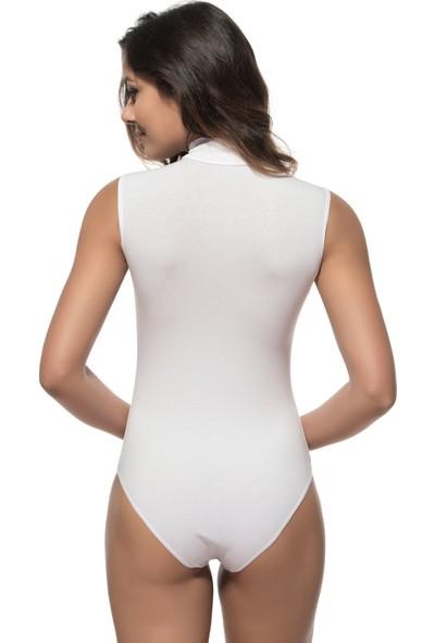 Özkan Bayan Çıtçıtlı Kolsuz Body 0570 Beyaz