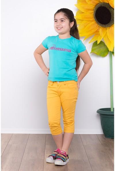 Ottomama Kız Çocuk Keten Kapri Sarı Renk