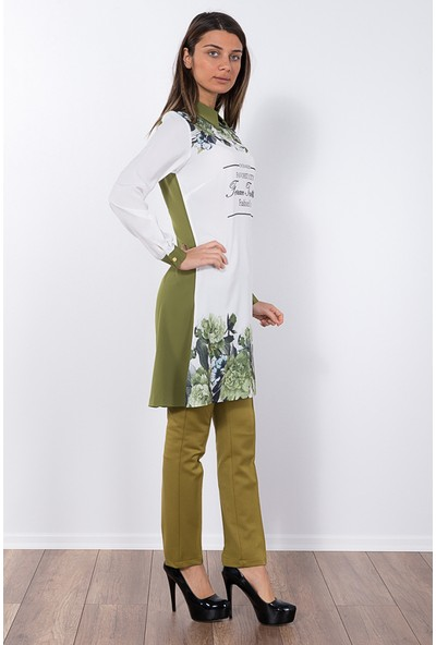 Modaverda Bayan Rahat Kesim Tunik Yeşil Renk