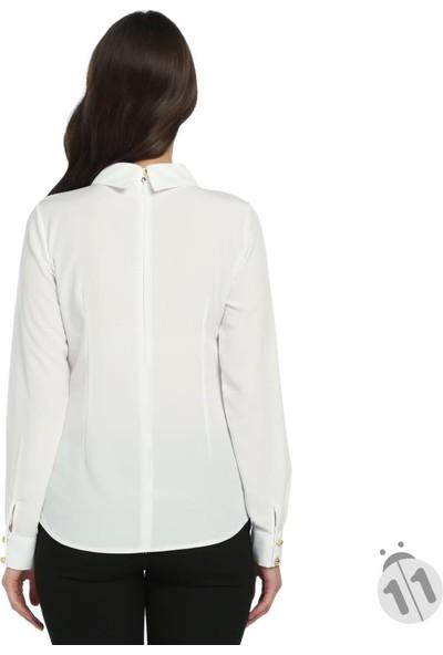 Modaverda Bayan Pileli Broşlu Gömlek Beyaz Renk