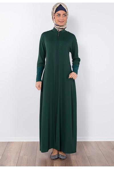 Modaverda Ferace Taşlı Yarasa Yeşil Renk
