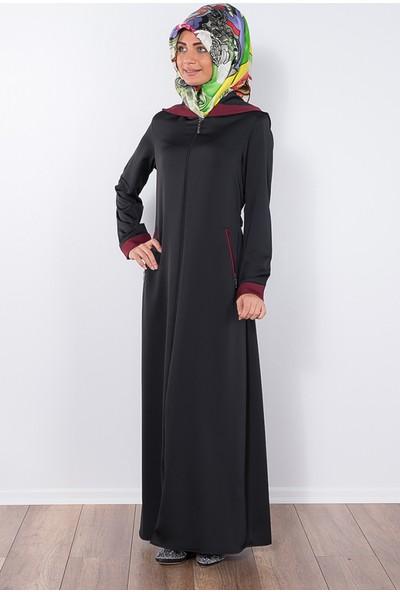 Modaverda Ferace Kapşonlu Garnili Siyah Renk