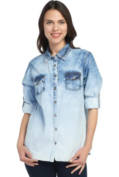 Modaverda Yaka Taşlı Batık Havlu Yıkama Gömlek