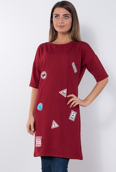 Modaverda Bayan Uzun Armalı Tunik Kırmızı Renk