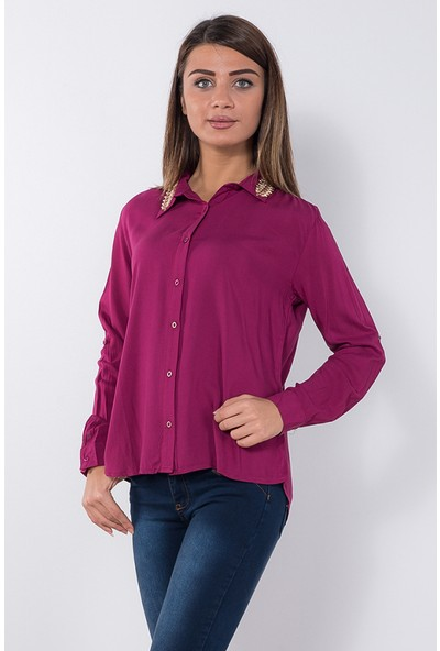 Modaverda Bayan Yakası Yapraklı Bluz Fuşya Renk
