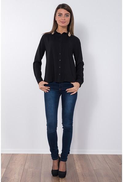 Modaverda Bayan Yakası Yapraklı Bluz Siyah Renk