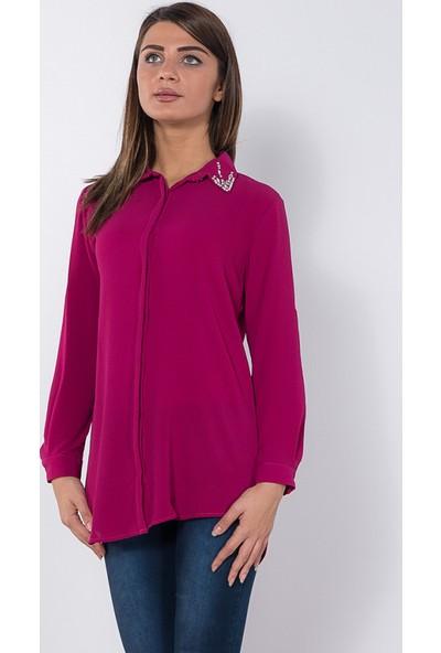 Modaverda Bayan Kabe Elişli Fermuarlı Gömlek Fuşya Renk