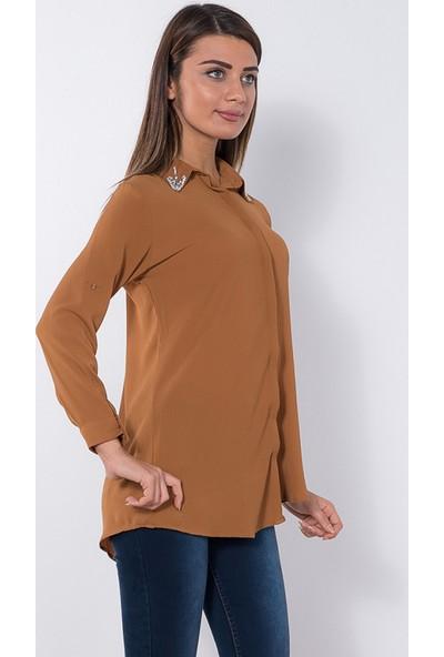 Modaverda Bayan Kabe Elişli Fermuarlı Gömlek Hardal Renk