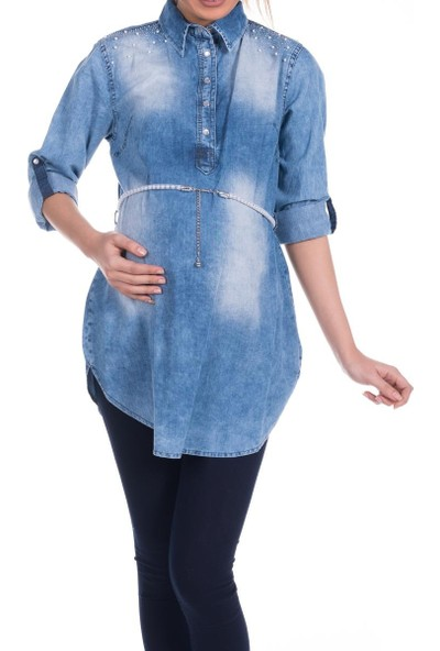 Modaverda Bayan İncili Kot Gömlek Mavi Renk