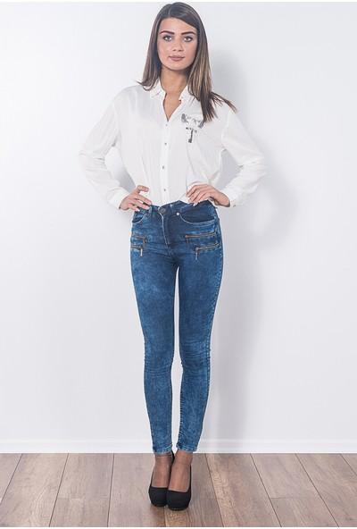 Modaverda Bayan Önü Fermuarlı Kot Pantolon Mavi Renk