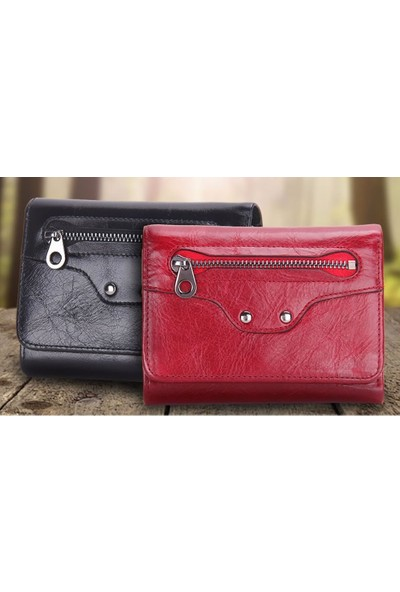 Casuha Trifold Wallet Fashion Ladies Genuine Leather Siyah